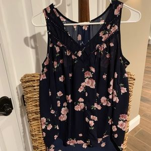 Navy and pink floral flowy blouse.